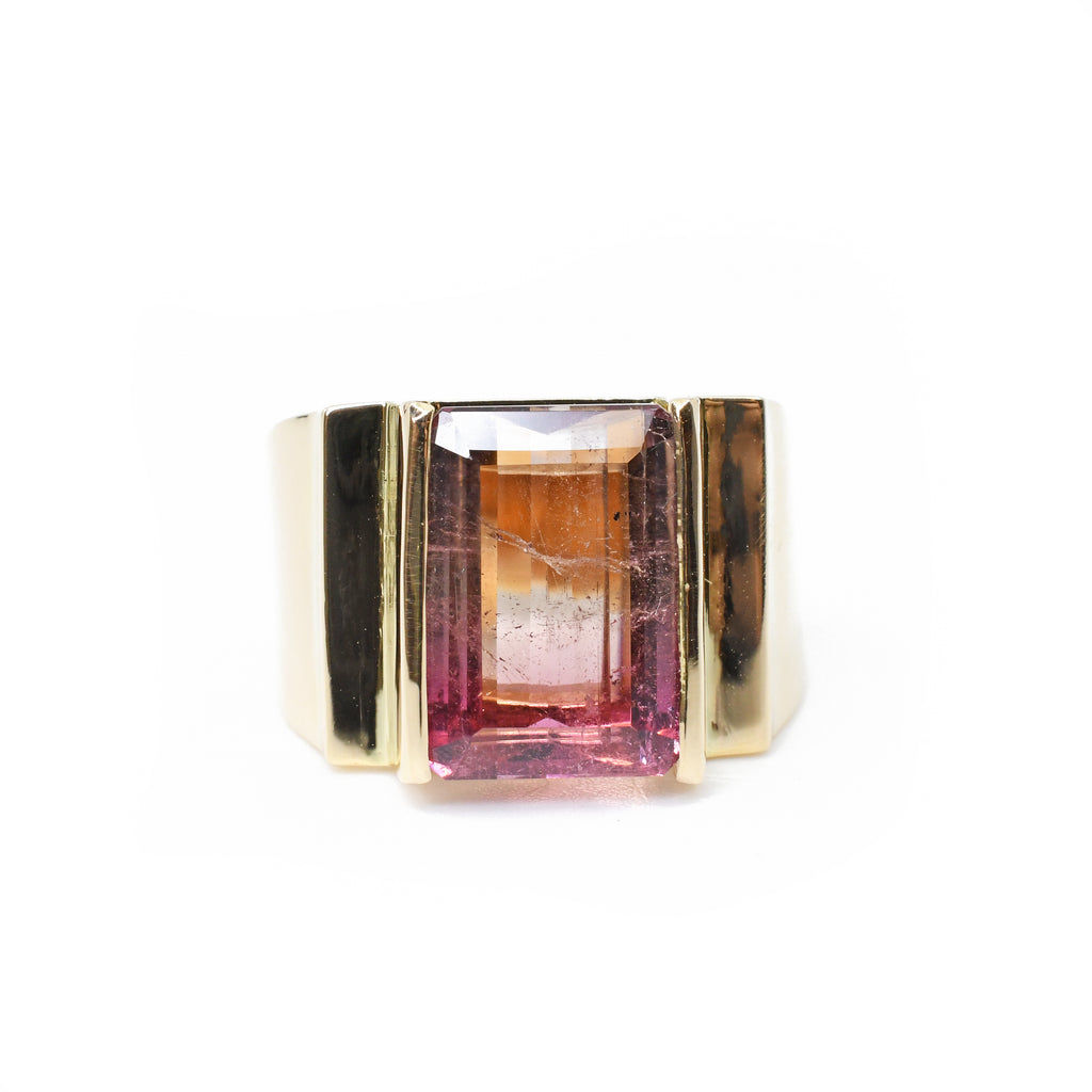Pink Tourmaline 5.15 carat 13.32 mm Rectangle Faceted 14K Handcrafted Gemstone Ring