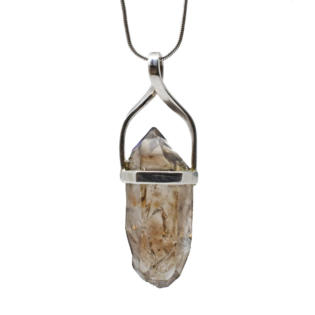 Enhydro Smoky Quartz 29.29 mm 22.35 carat Natural Crystal Sterling Silver Handcrafted Pendant