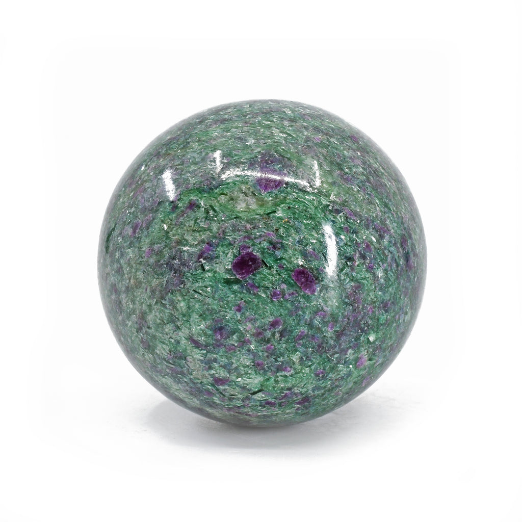 Ruby with Kyanite in Fuchsite 2.3 inch 323 grams Natural Crystal Polished Sphere - India