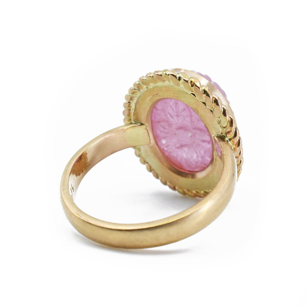Pink Tourmaline 13.81 mm 10.4 carats Floral Carved 14K Handcrafted Ring