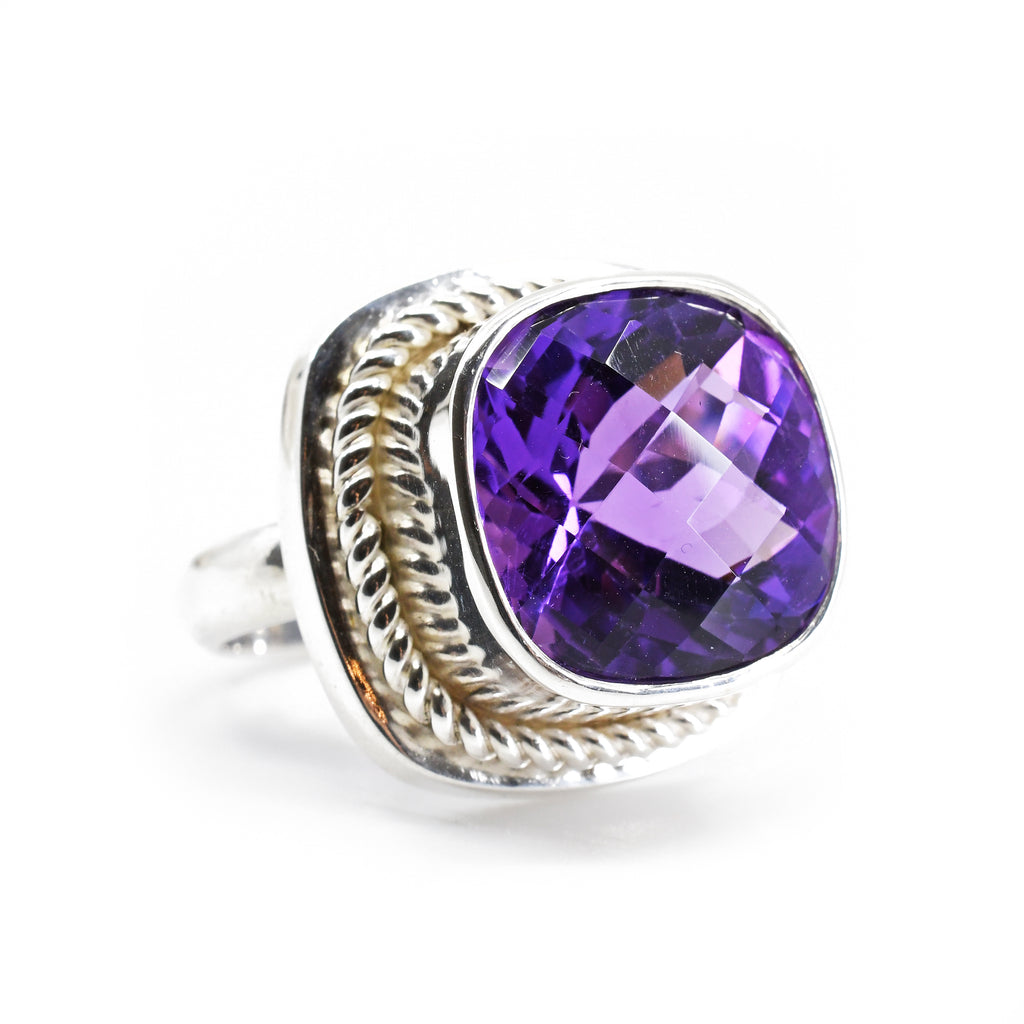 Amethyst 16.23 mm 9.78 carat Faceted Gem Sterling Silver Handcrafted Ring