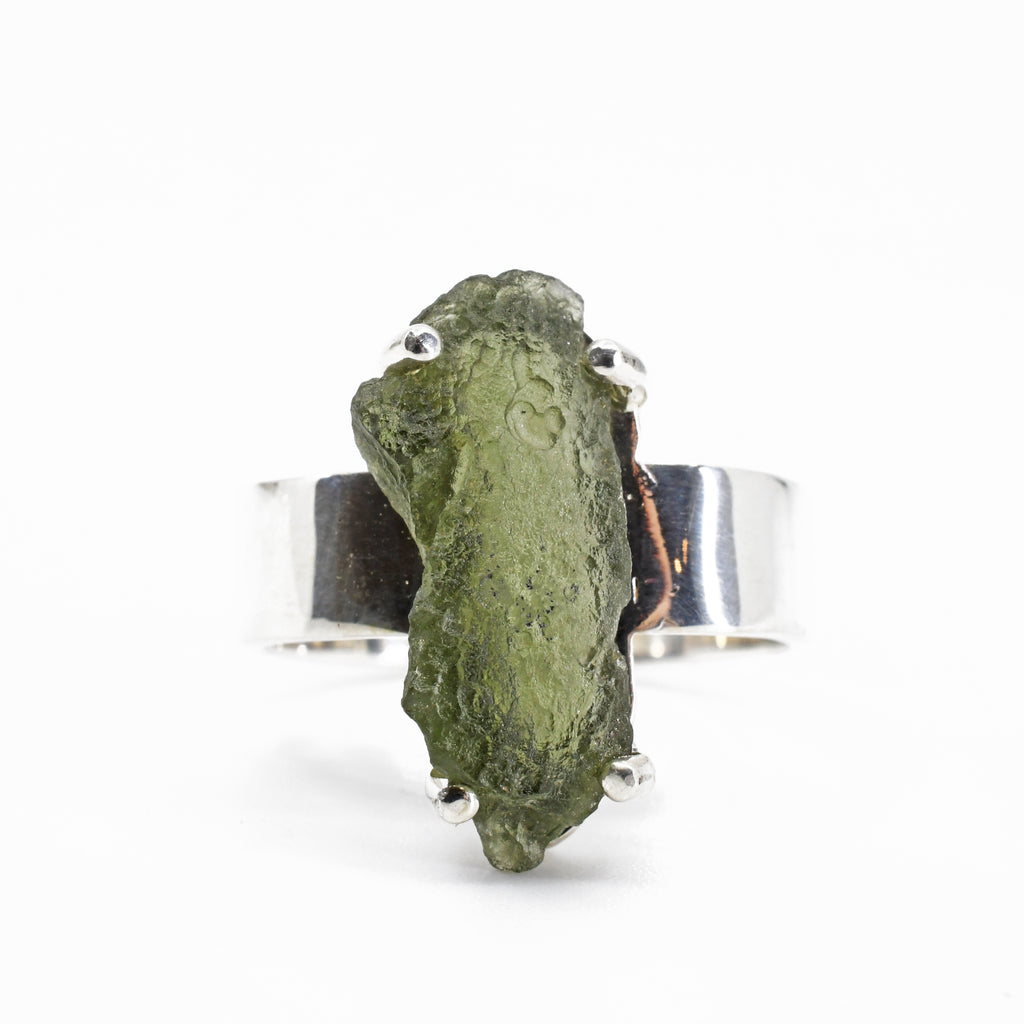 Moldavite 20.27 mm 9 carats Natural Crystal Sterling Silver Handcrafted Ring