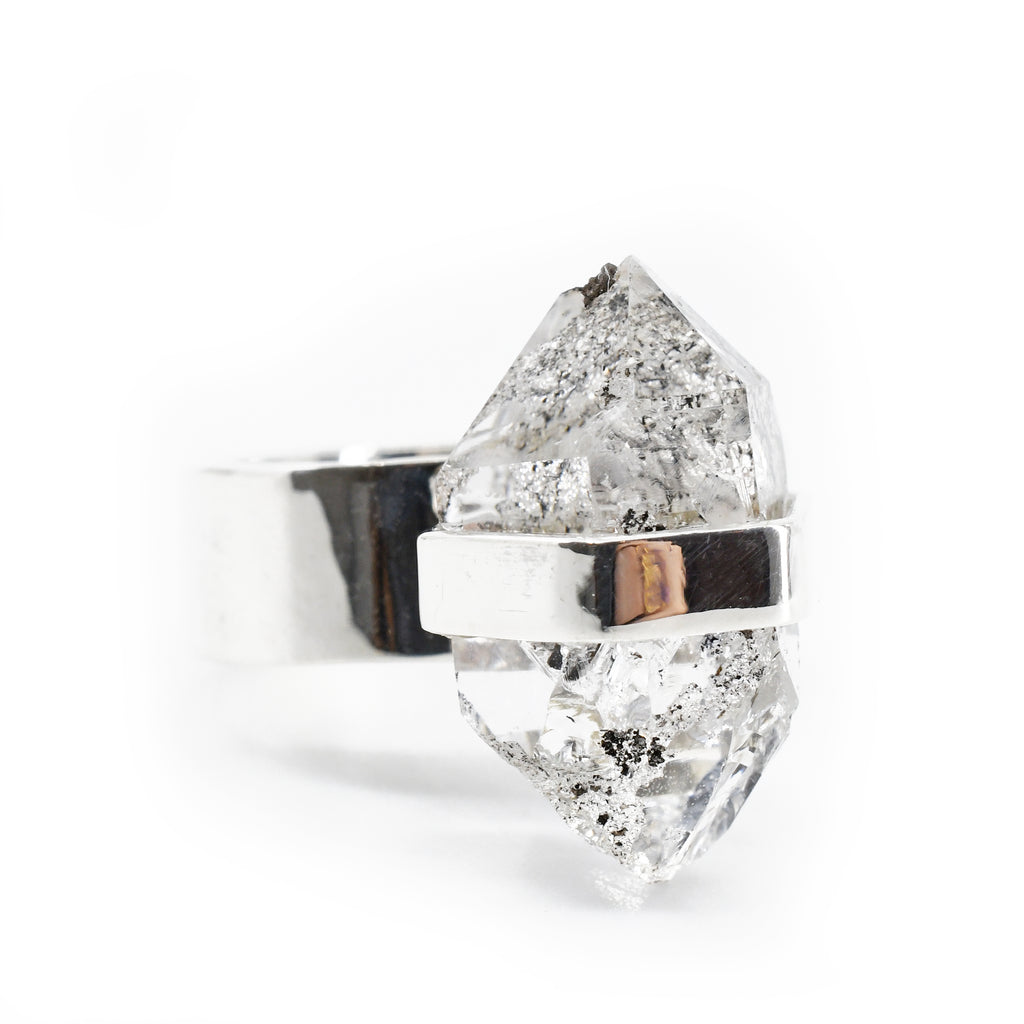 Herkimer Quartz Diamond 19.43 mm 14.40 carats Natural Crystal Sterling Silver Handcrafted Ring