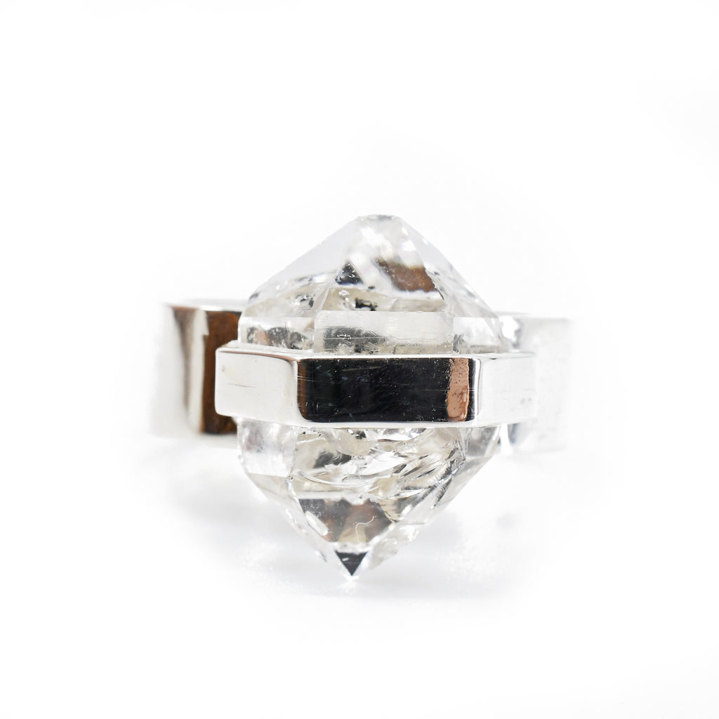 Herkimer Quartz Diamond 16.72 mm 7.69 carats Natural Crystal Sterling Silver Handcrafted Ring