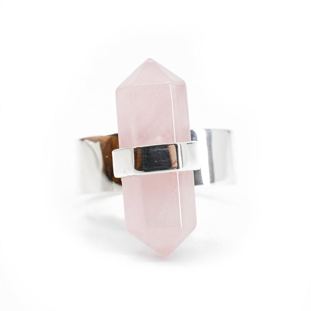 Rose Quartz 21.79 mm 10 carat Polished Crystal Sterling Silver Handcrafted Ring
