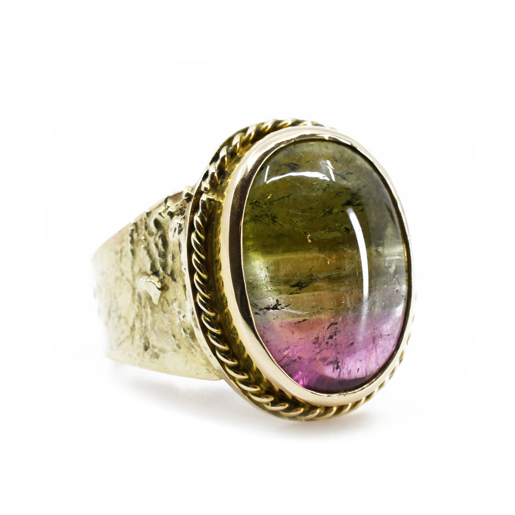 Green and Pink Tri Color Tourmaline 11.43ct Handcrafted 14k Cabochon Ring