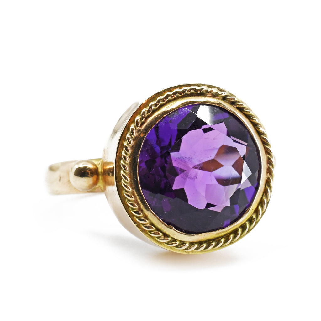 Amethyst Round Faceted Handcrafted 14k Gemstone Ring