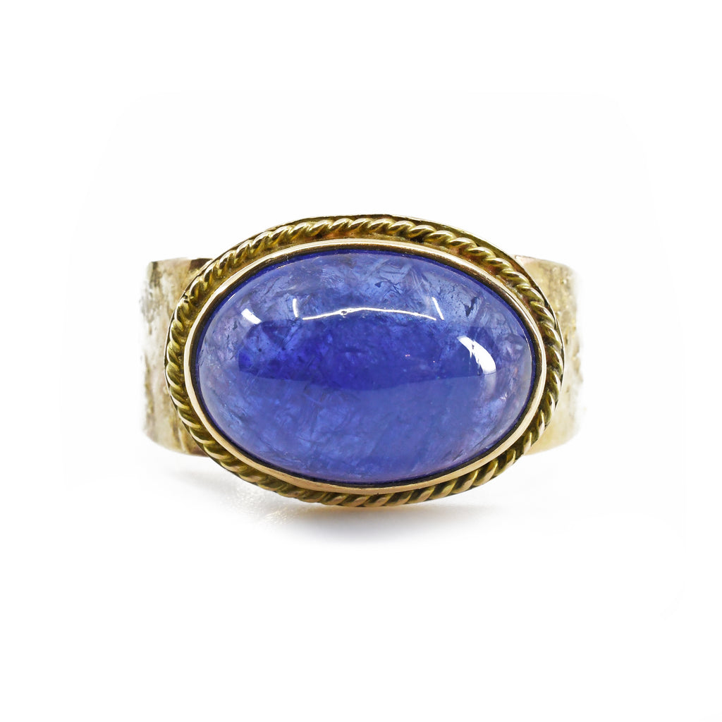 Tanzanite 10.99ct Cabochon Handcrafted 14k Gemstone Ring