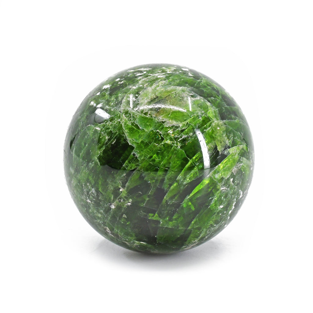 Chrome Diopside 1.66 inch 127 gram Natural Crystal Sphere - Russia