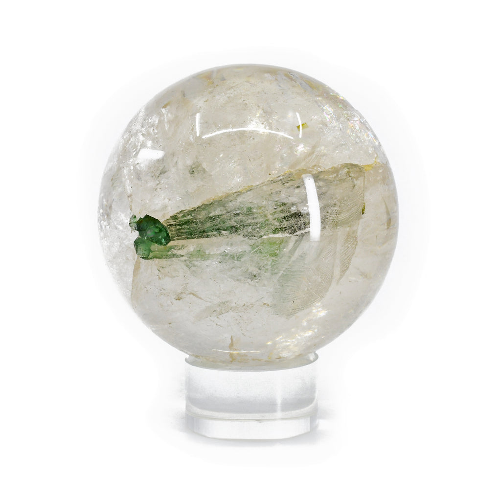 Green Tourmaline Gem Crystal in Quartz 3.28 inch 1.8 lb Natural Crystal Sphere - Brazil