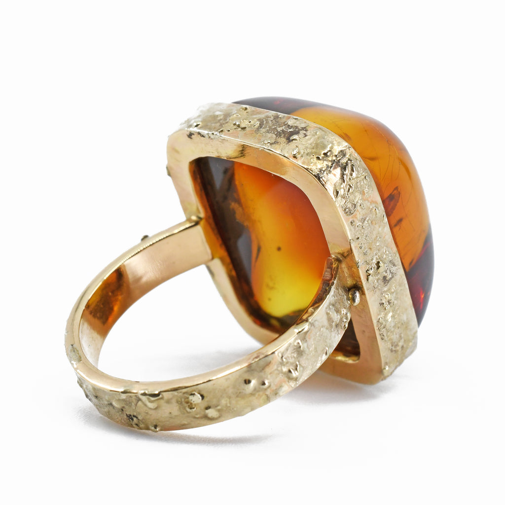 Amber-  Hand Cut Red Amber Cabochon 14k Handcrafted Gemstone Ring