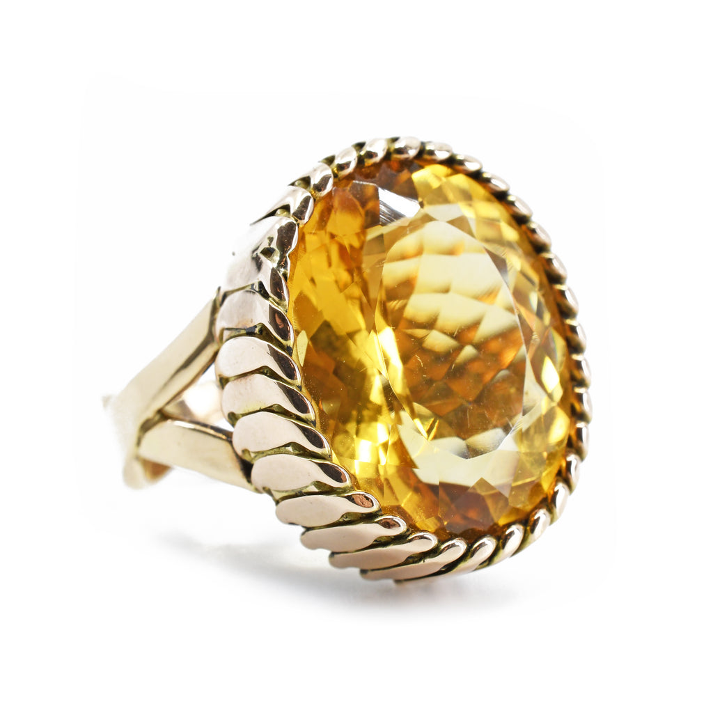 Citrine Faceted Russian Filigree & Woven Band 14kt Gold Ring
