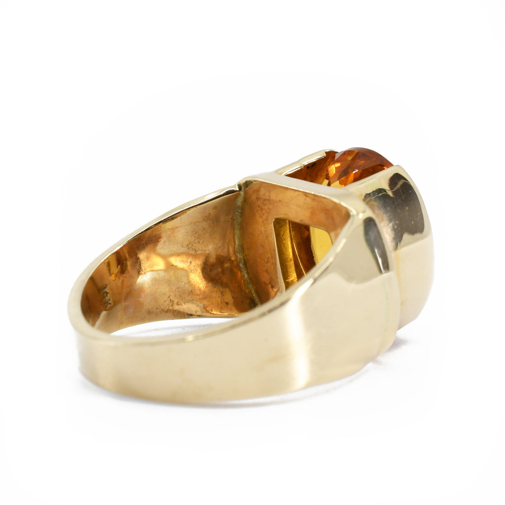Citrine Faceted 14k Gold Handmade Ring