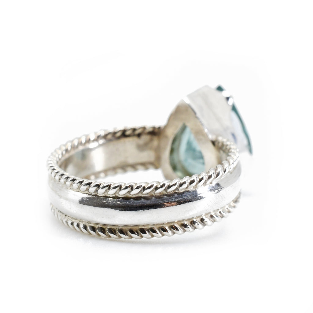 "Blue ""Paraiba"" Tourmaline Faceted Sterling Silver Handcrafted Gemstone Ring"