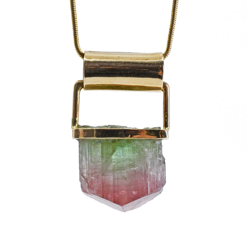 Pink & Green Tourmaline 21.64ct Handcrafted 14k Bi Color Gem Crystal Pendant
