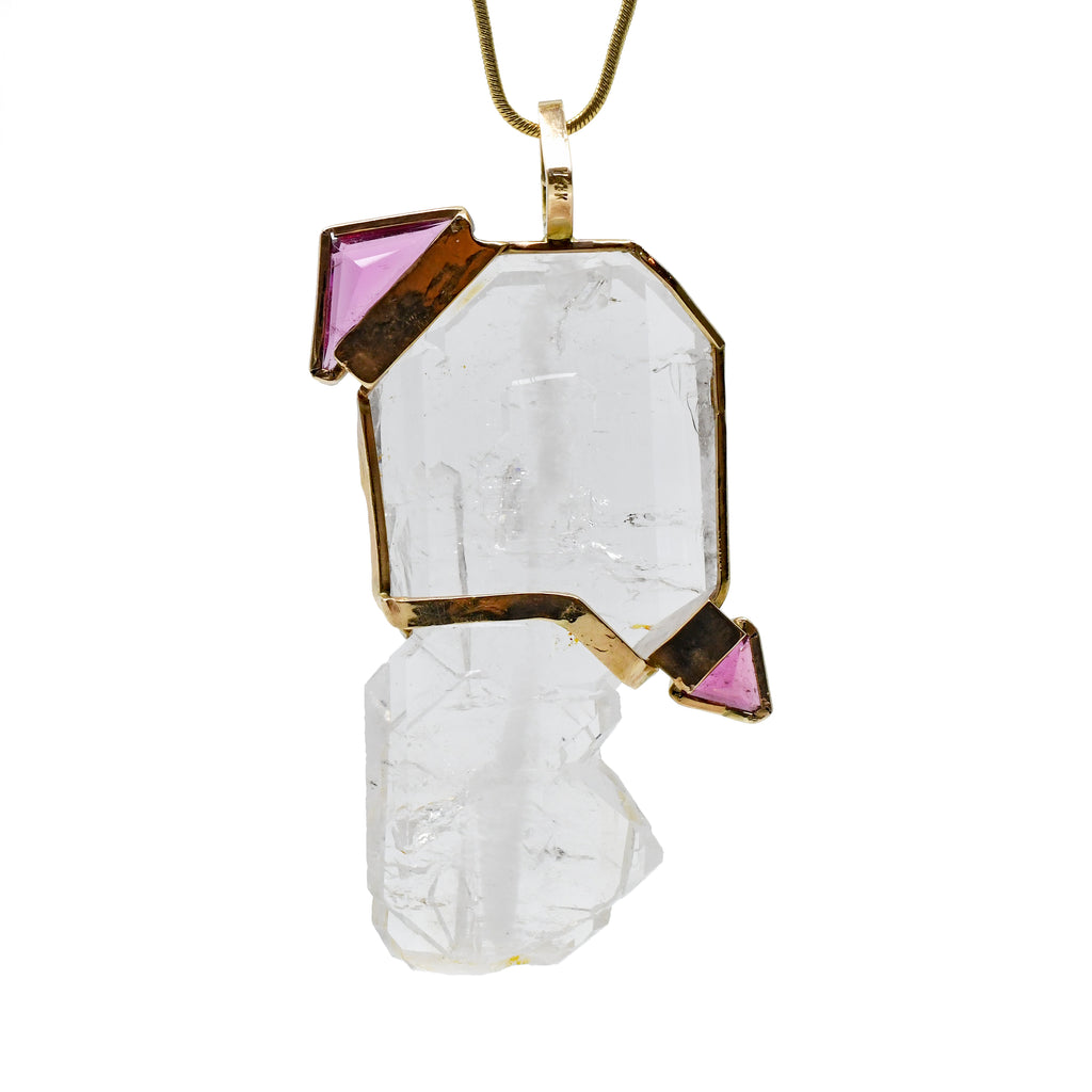 Faceted Pink Tourmaline with Faden Quartz 61.51ct Handcrafted 14k Gemstone Crystal Pendant