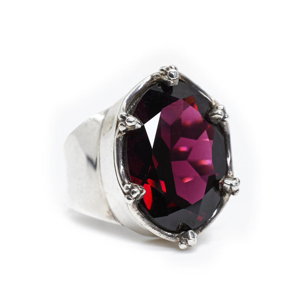 Garnet - Faceted Garnet Sterling Silver Handcrafted Ring