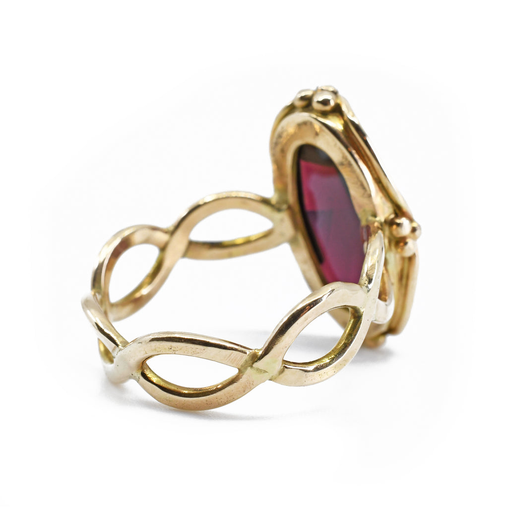 Garnet 21.30 mm 9.49 carat Faceted 14K Handcrafted Gemstone Ring
