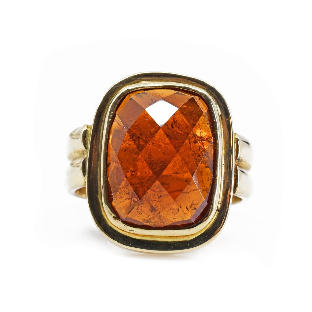 Garnet Faceted Spessartine Gemstone 14k Handcrafted Ring