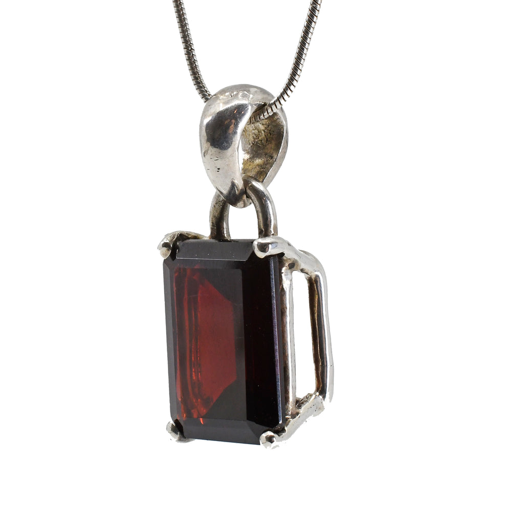 Garnet 14.77 mm 19.5 carat Faceted Rectangle Sterling Silver Pendant