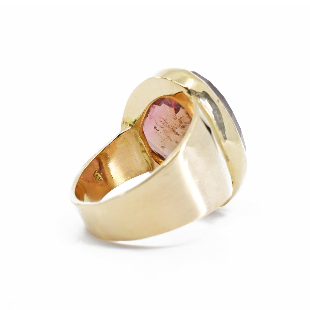 Bi-Color Tourmaline 16.89ct Rosecut Asymmetrical 14k Handcrafted Ring