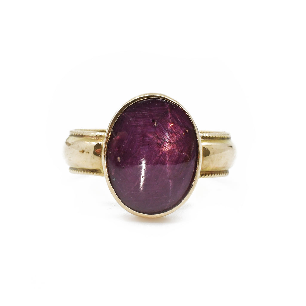 Star Ruby 5.73ct Cabochon 14k Handcrafted Gold Ring