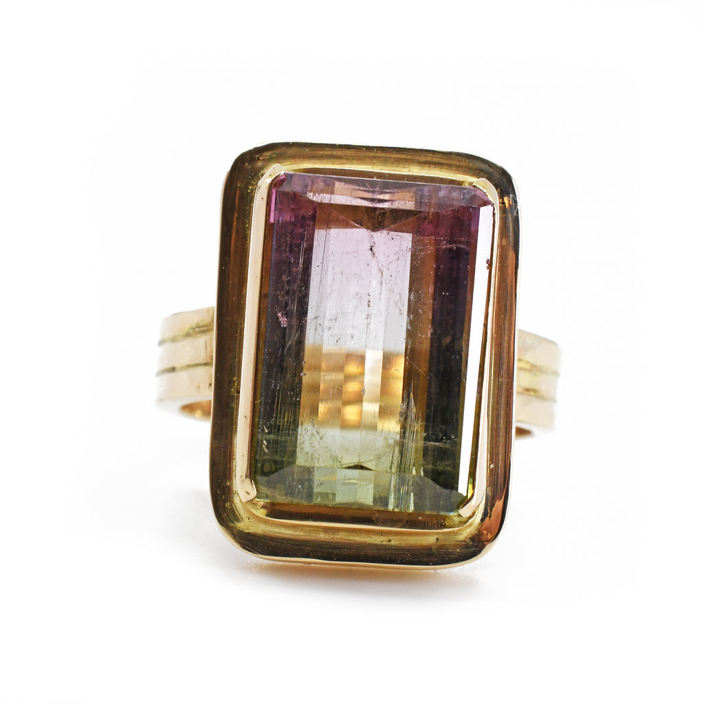 Bi-Color Tourmaline 10.18ct Facet Handcrafted Gemstone Ring