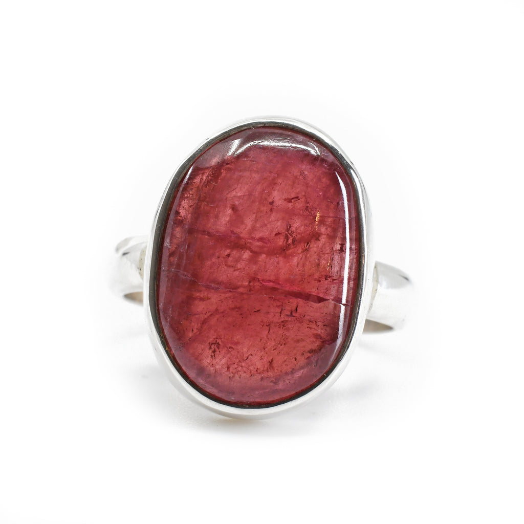 Pink Tourmaline 10.47ct Cabochon Sterling Silver Handcrafted Ring