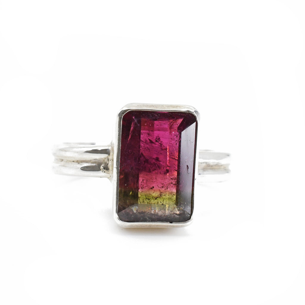 Bi-Color Tourmaline Faceted 4.22ct Sterling Silver Handcrafted Ring