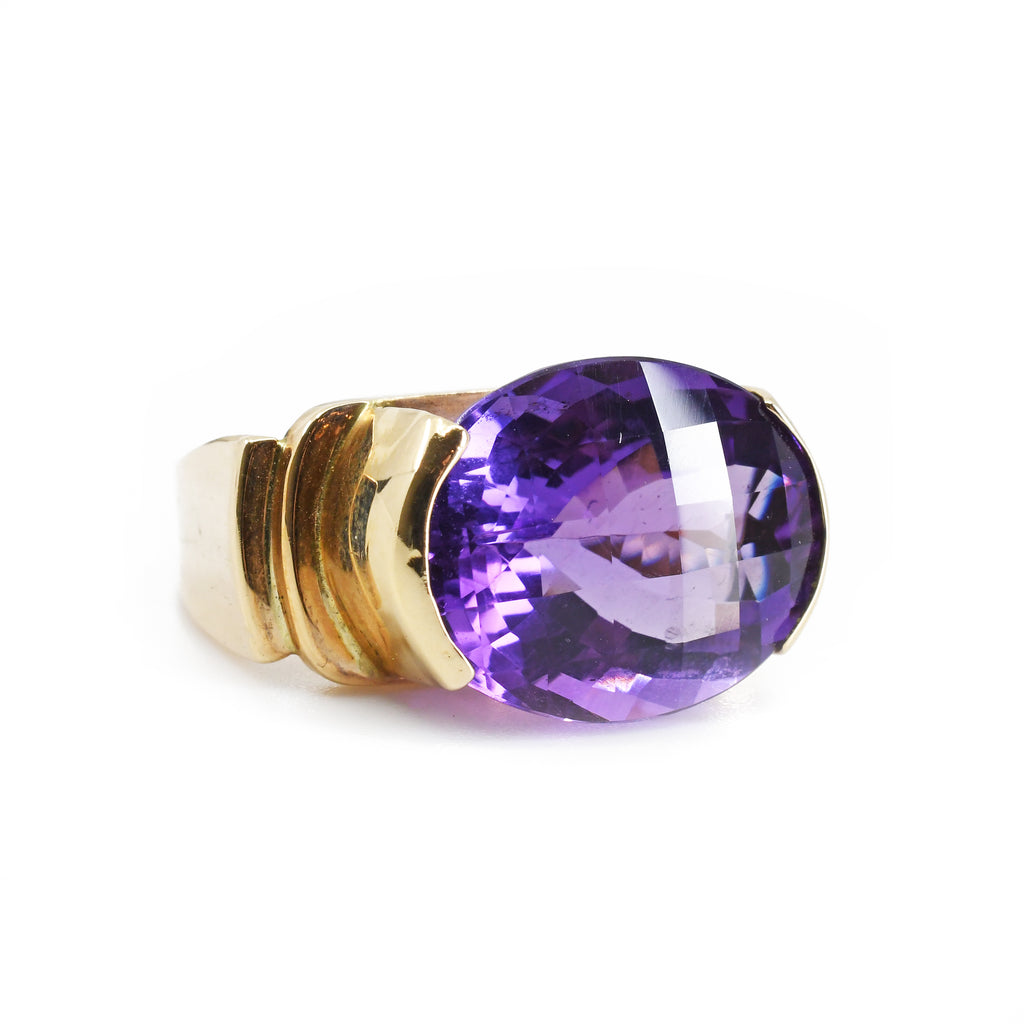 Amethyst 9.36 carats 17.66 mm Faceted Oval 14K Handcrafted Gemstone Ring