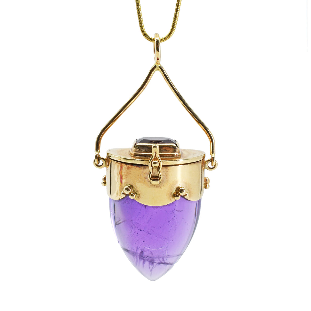 Amethyst and Rubelite Tourmaline 14k Handcrafted Vessel Pendant