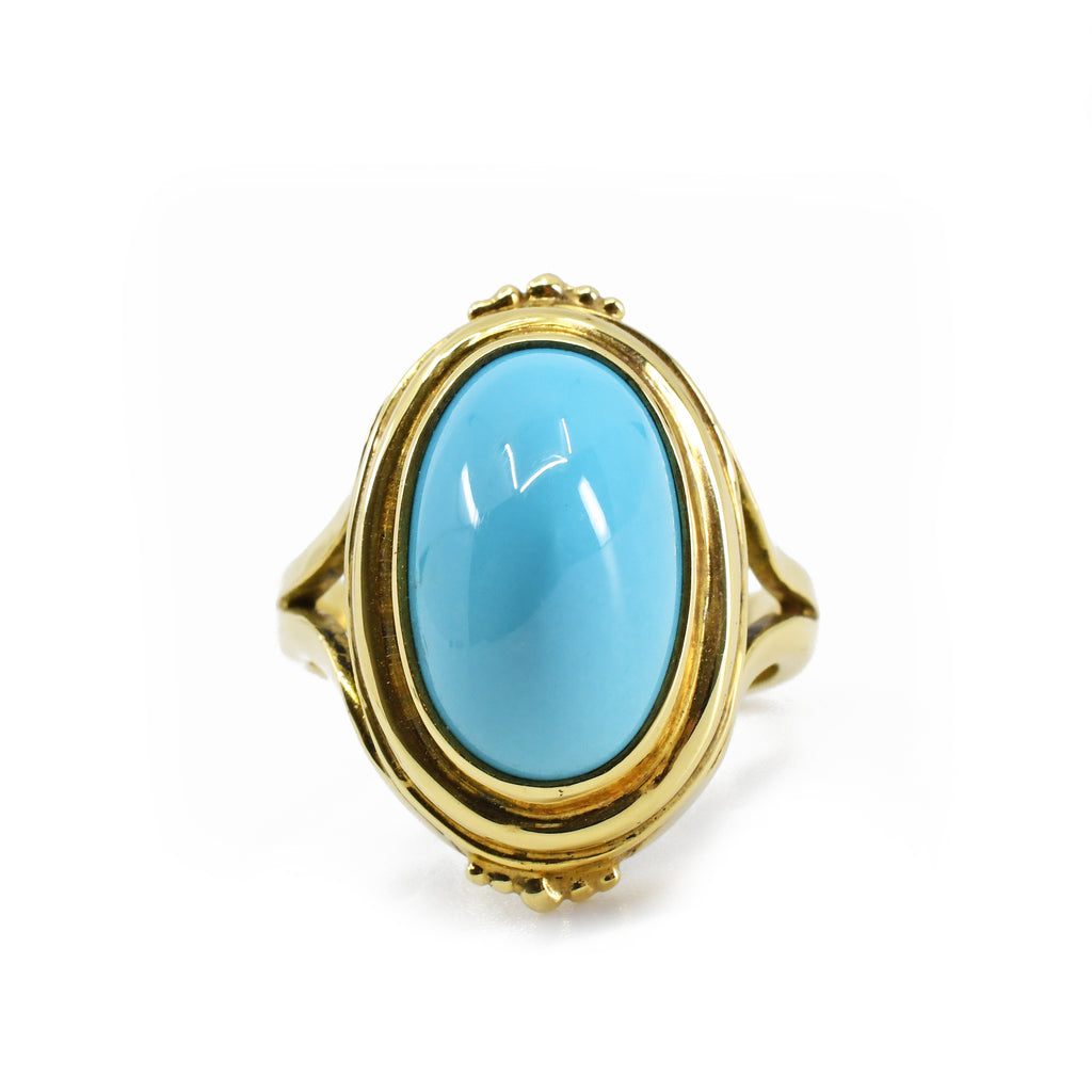 Persian Turquoise 18kt Handmade Gold Ring