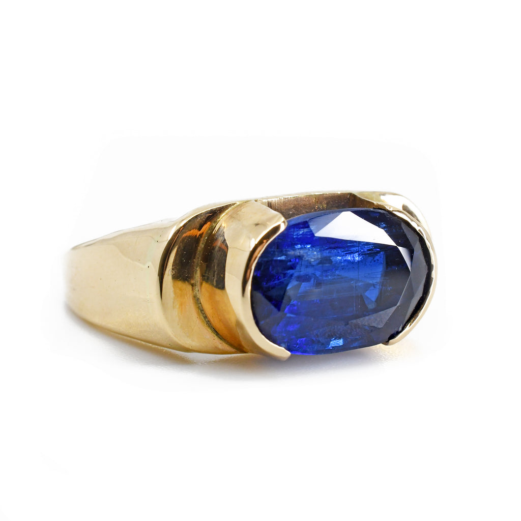 Kyanite 11.66 mm 5.26 carat Faceted Oval 14K Handcrafted Gemstone Ring