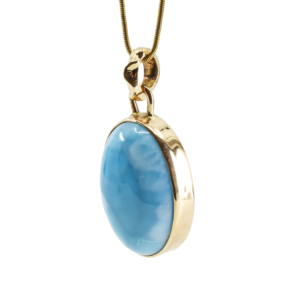 Larimar Oval 31.9ct Cabochon 14k Gold Handcrafted Pendant