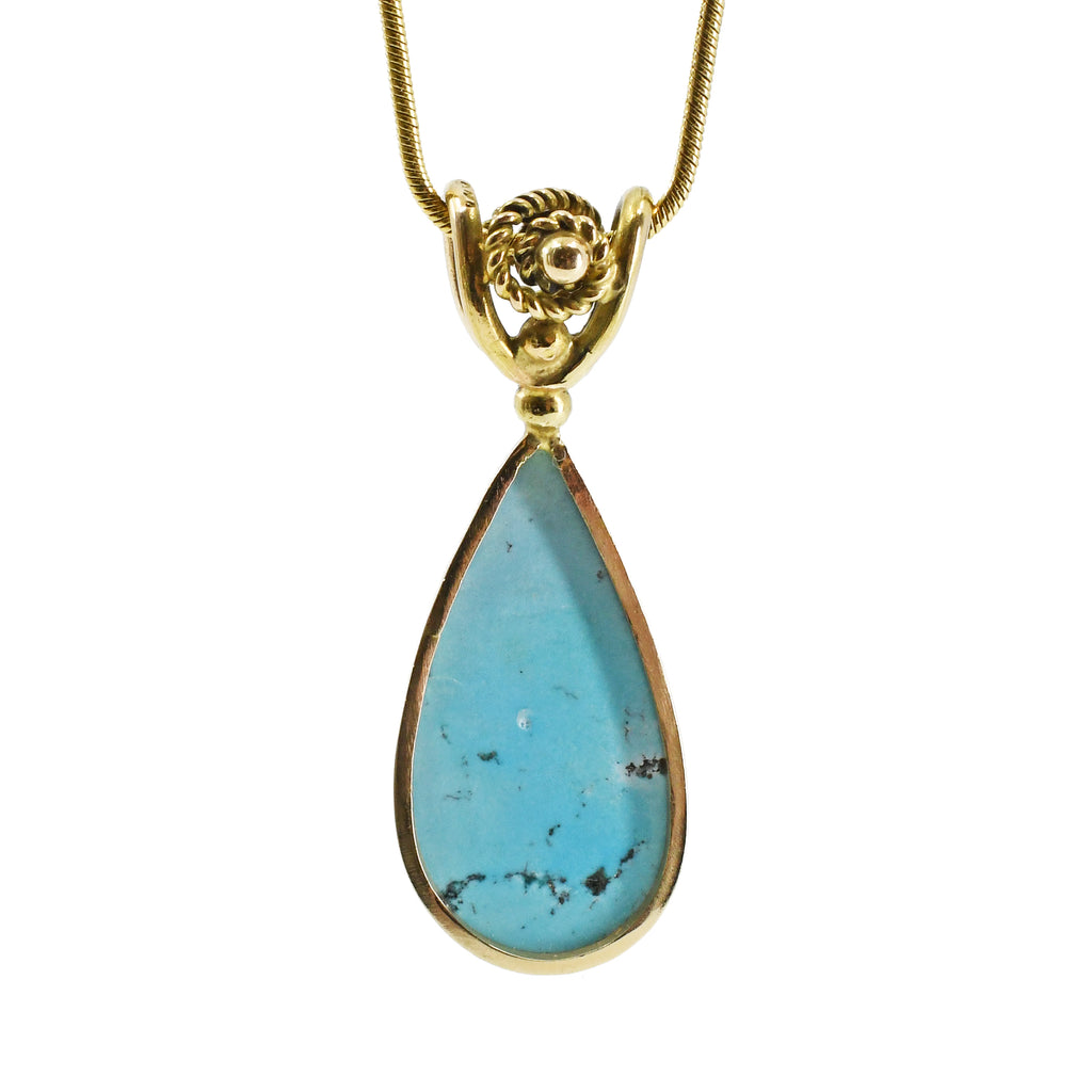 Turquoise 5.89ct Carved 14k Handcrafted Pendant