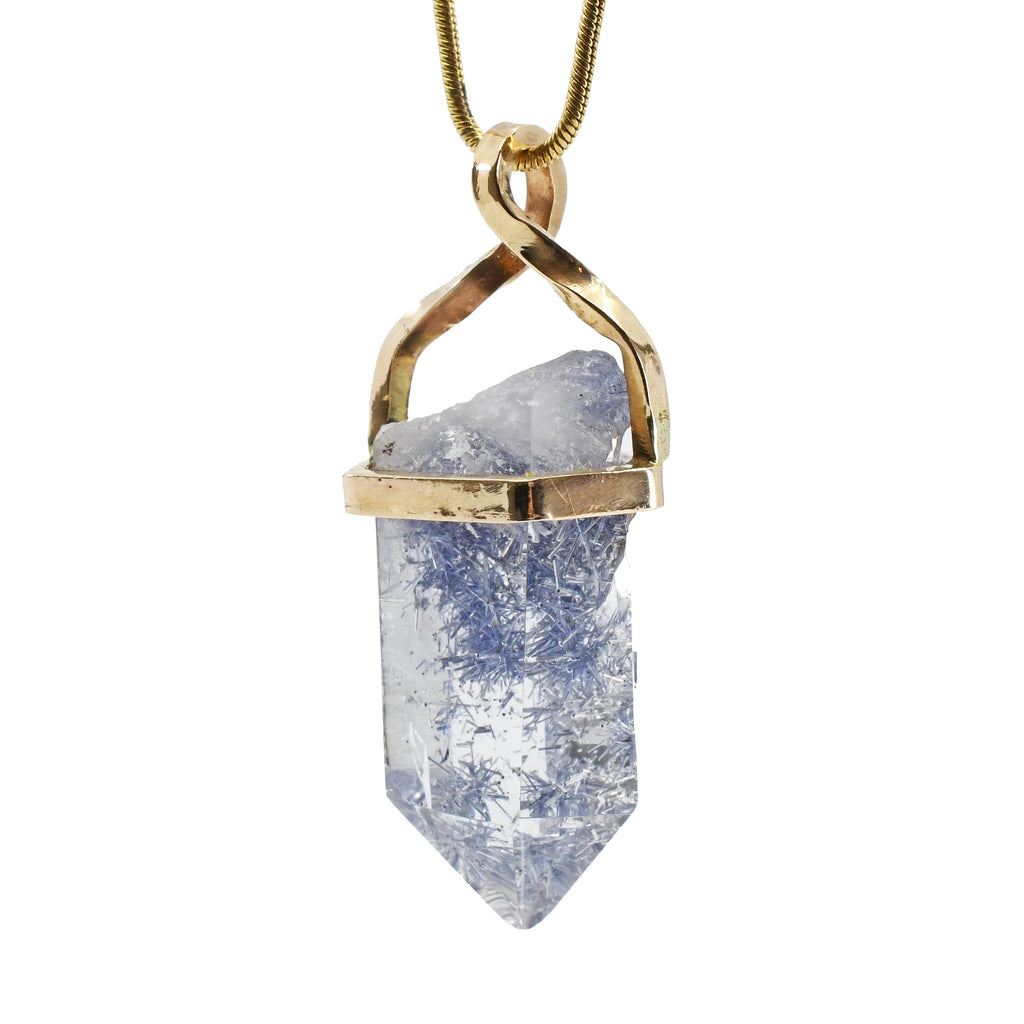 Dumortierite in Quartz 26.2 mm 21.39 carat Partial Polished Crystal 14K Pendant