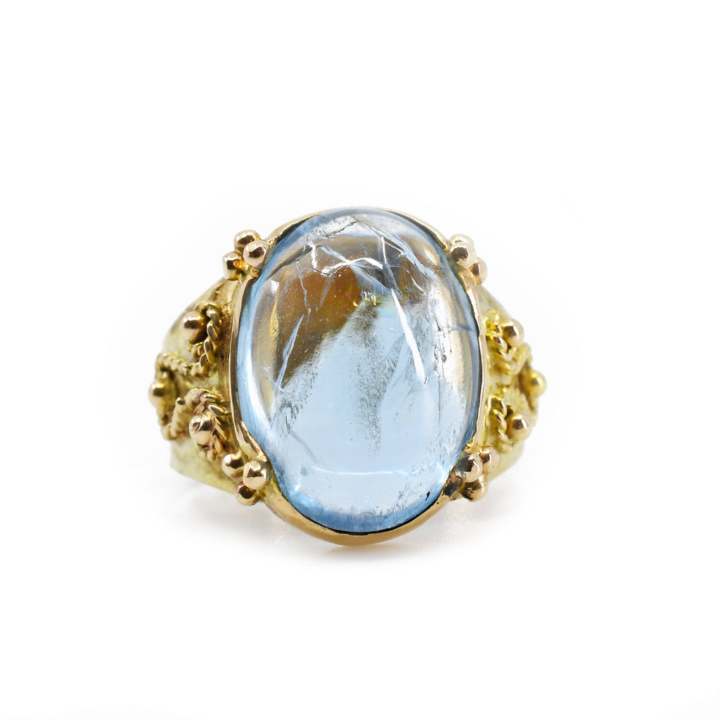 Aquamarine 6.70ct Cabochon Handcrafted 14k Filigree Gemstone Ring