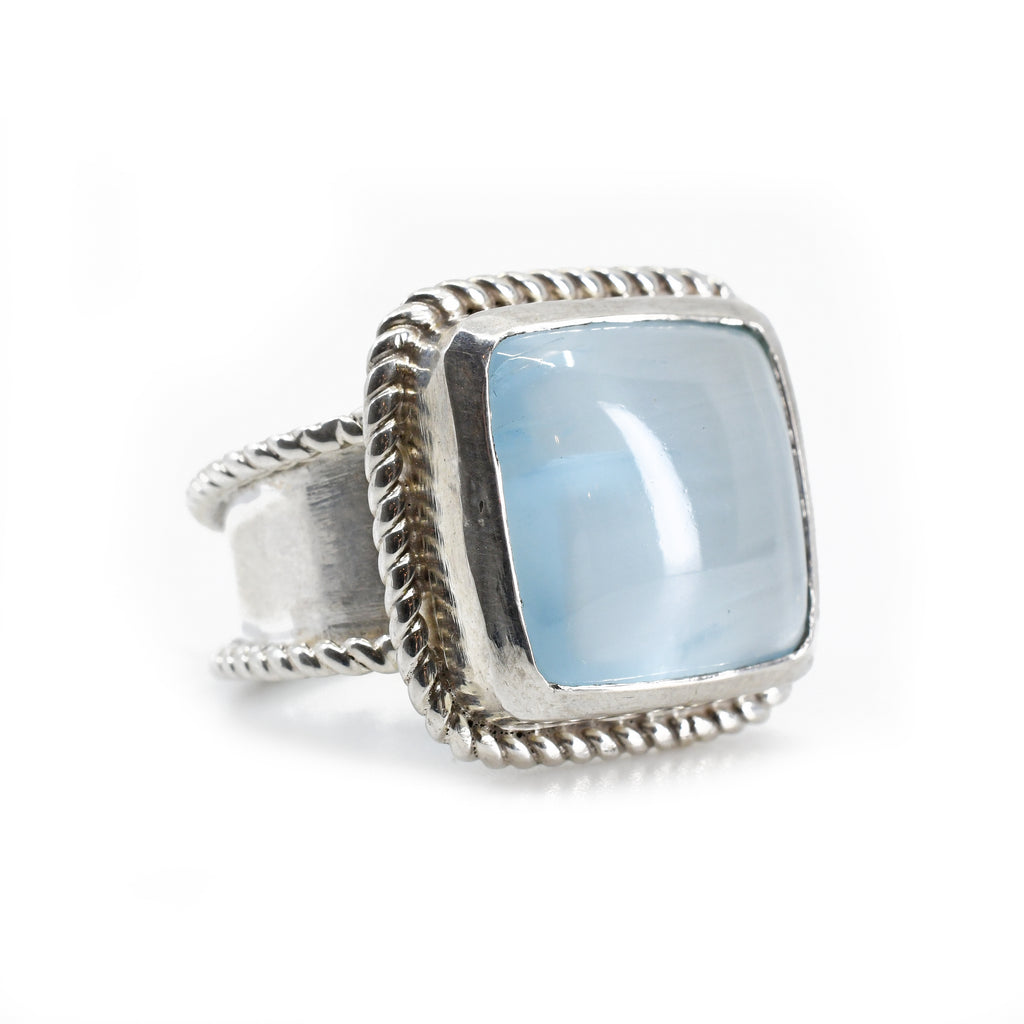 Aquamarine Cabochon Sterling Silver Handcrafted Gemstone Ring