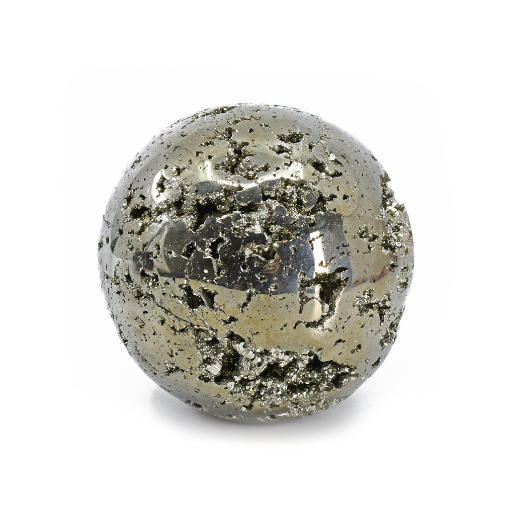 Pyrite 3.03 inch 2.13 lbs Partial Polished Crystal Sphere - Peru