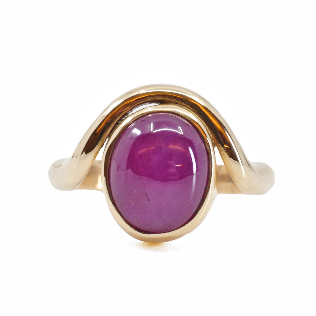 Ruby 10.32 mm 6.16 carat Oval Cabochon 14K Handcrafted Gemstone Ring