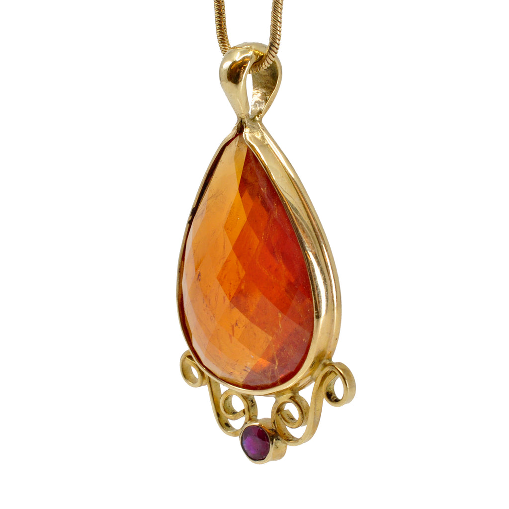 Garnet-Spessartine 18k Faceted Teardrop with Ruby Scroll Pendant