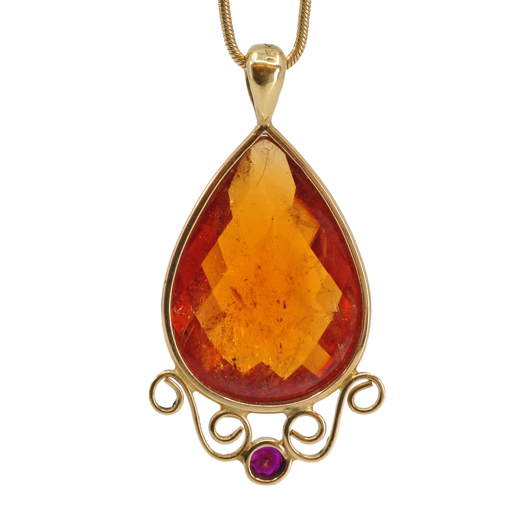 Garnet-Spessartine 18Kt Faceted Teardrop with Ruby Scroll Pendant
