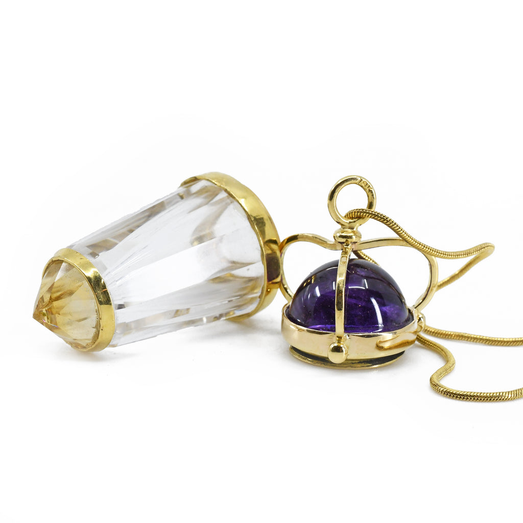 Quartz with Amethyst and Mexican Opal 1.98 inch Faceted 18K Vessel Pendant