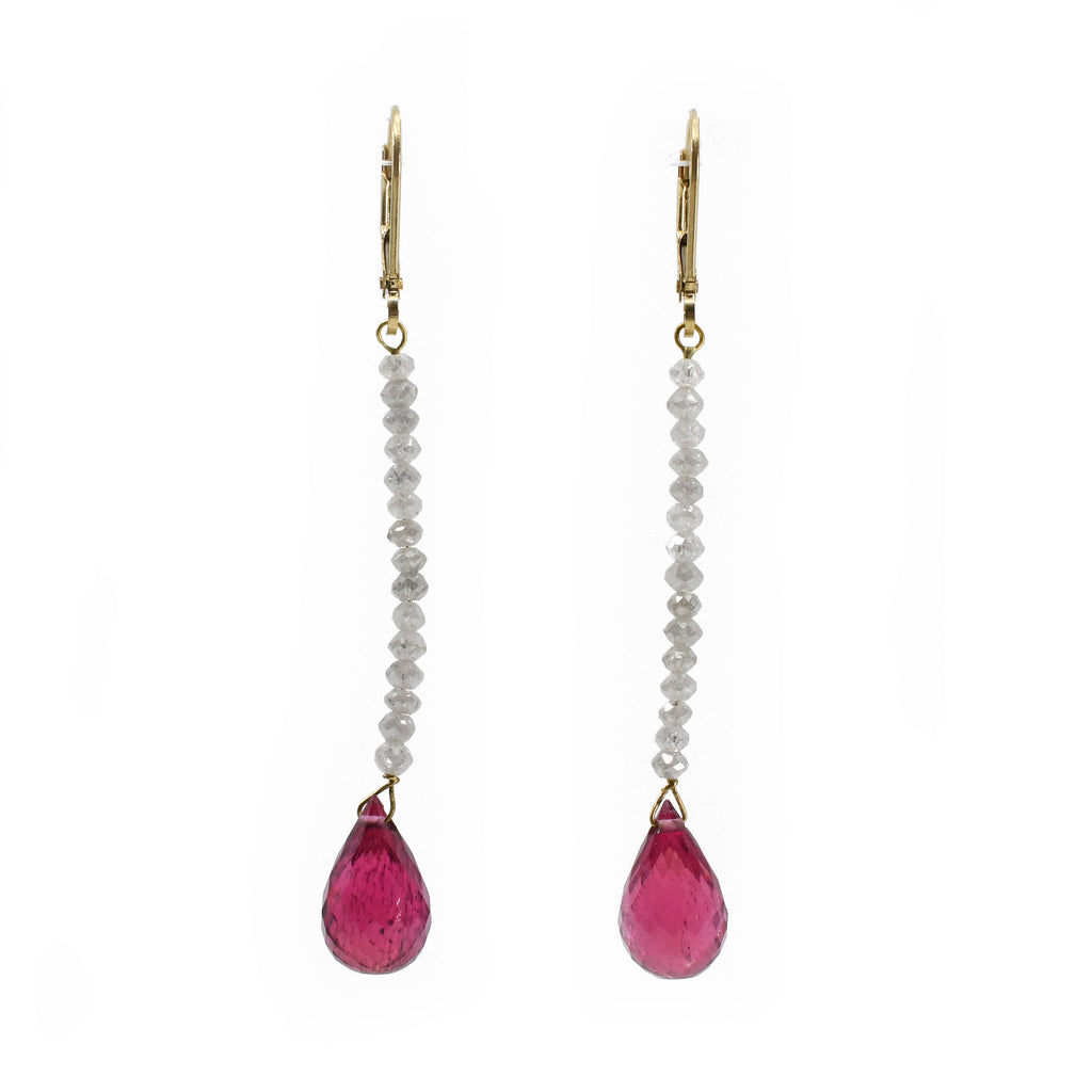 Rubelite 9.88ct Briolette & Diamond Bead 18k Gold Handcrafted Earring Pair