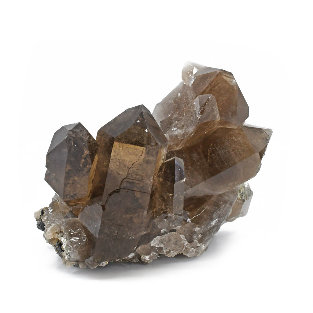 Smoky Quartz 8.2 inch 7.49 lbs with Exposed Rutile and Hematite Natural Crystal Cluster - Brazil