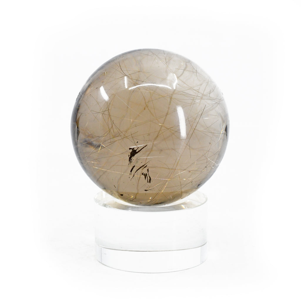 "Rutilated Quartz 2"" Polished Crystal Sphere - Brazil"