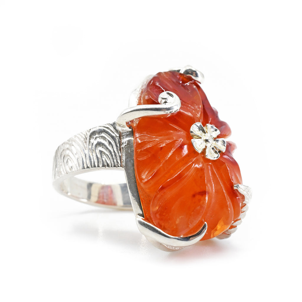 Carnelian 21.9 ct Carved Flower Handcrafted Sterling Silver Ring