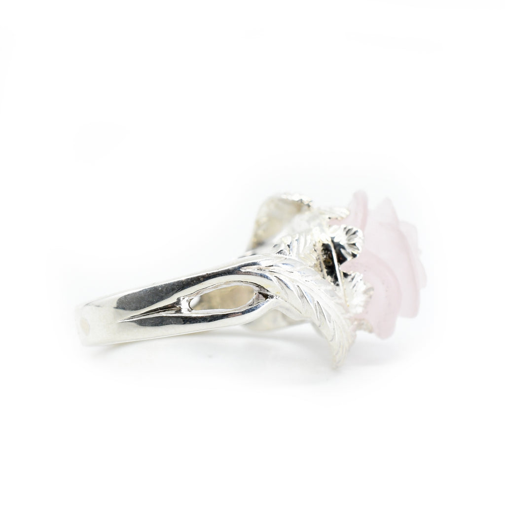 Rose Quartz 7.9 ct Handcrafted Carved Rose Sterling Silver Ring