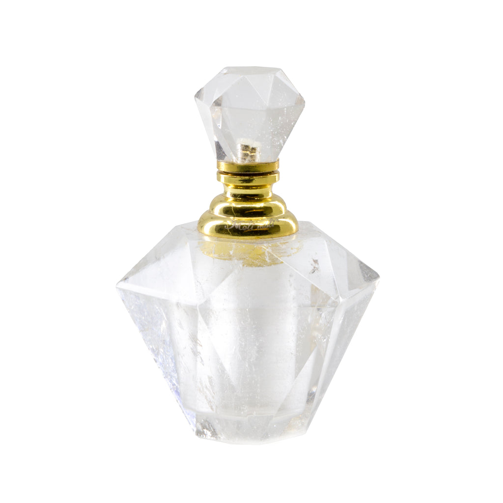 "Quartz 1.8"" 33 gram Faceted Crystal Perfume Bottle"