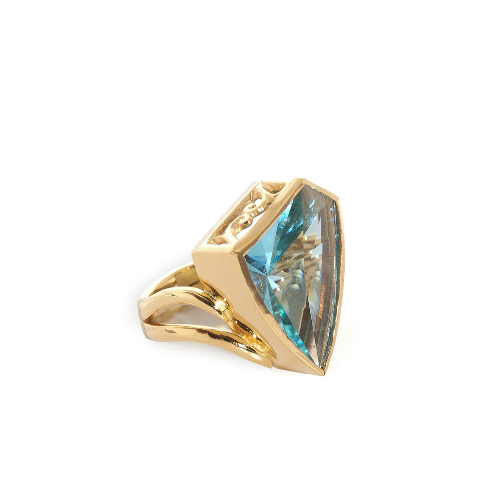 Nigerian Aquamarine 9.07 ct Free-form Facet 14k Handcrafted Ring